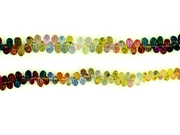 Multi Colored Sapphire Faceted Briolette Beads