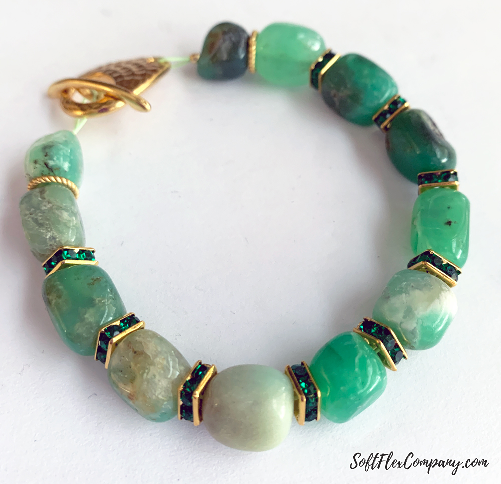 Easy Gemstone Bracelet Using Nugget Beads by Kristen Fagan