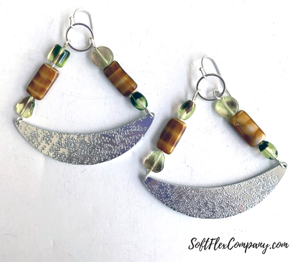 Hammered Metal, Boho Beaded Crescent Swing Earrings by Kristen Fagan