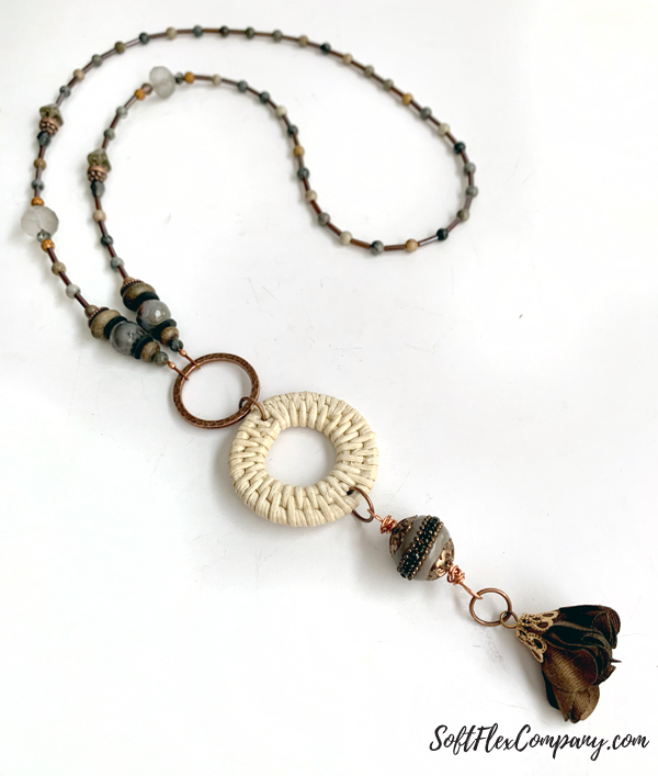 Fall Beaded Necklace using Rattan Wicker Shapes by Kristen Fagan