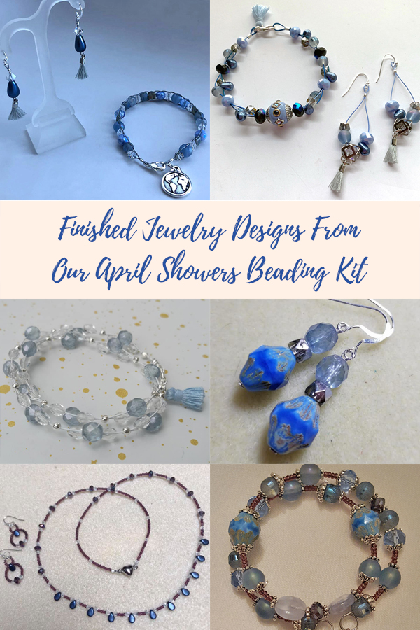 Finished Jewelry Designs From Soft Flex's April Showers Beading Kit