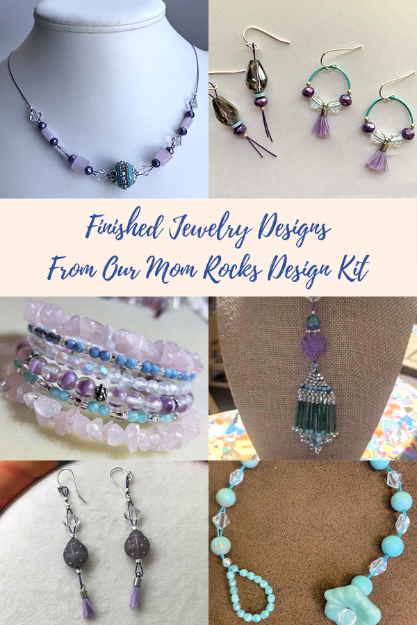Finished Jewelry Designs From Soft Flex's Mom Rocks Beading Design Kit