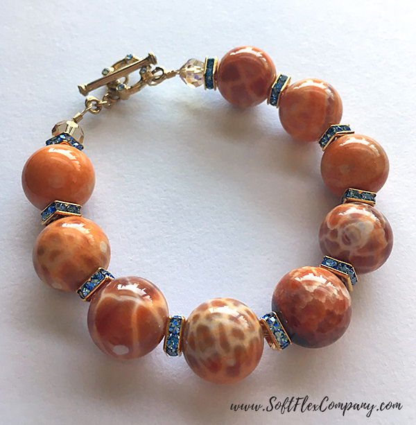 Agate and Crystal Squaredelle Bracelet by Kristen Fagan