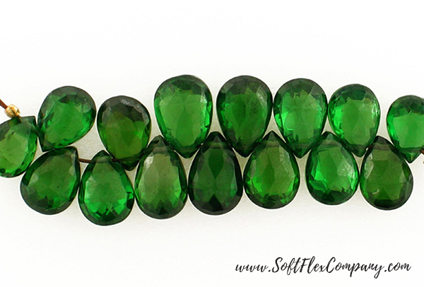 14 Count 8-10mm Green Cubic Zirconia Faceted Long Pears
