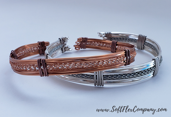 Square Soft Flex Craft Wire Copper and Silver Cuffs by James Browning
