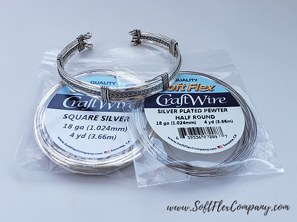 Square Soft Flex Craft Wire Silver Cuff by James Browning