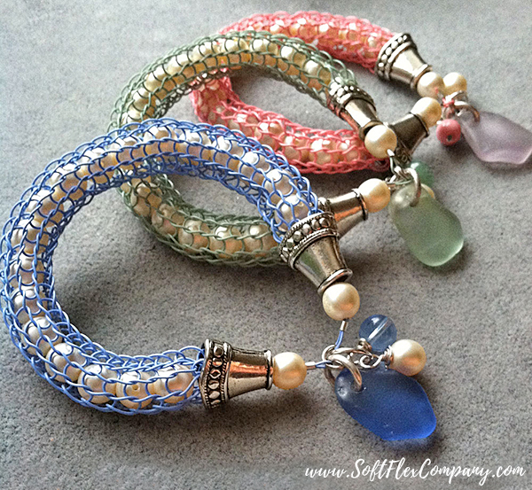 Knitted Bangles with Sea Glass & Pearls by Kristen Fagan
