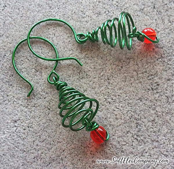 Christmas Tree Wire Earrings by Kristen Fagan