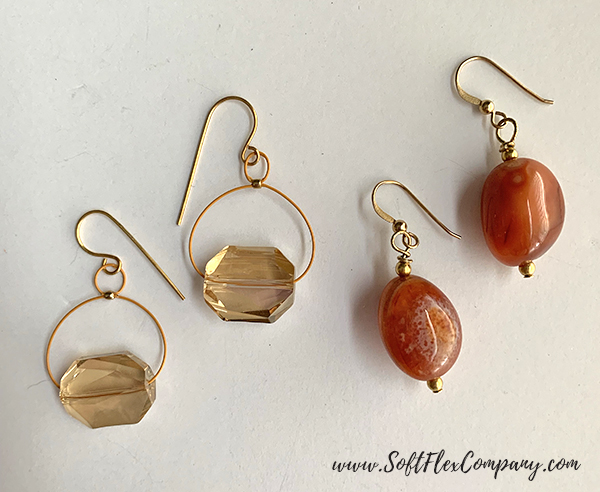 Mala Style Earrings with Carnelian, Citrine and Crystal Beads by Kristen Fagan