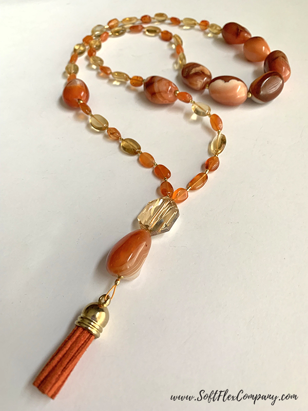 Mala Style Necklace with Carnelian, Citrine and Crystal Beads by Kristen Fagan