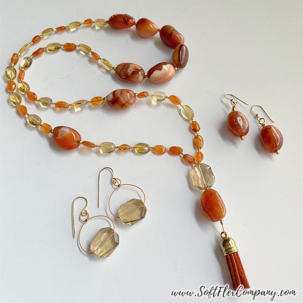 Mala Style Necklace and Earrings with Carnelian, Citrine and Crystal Beads by Kristen Fagan