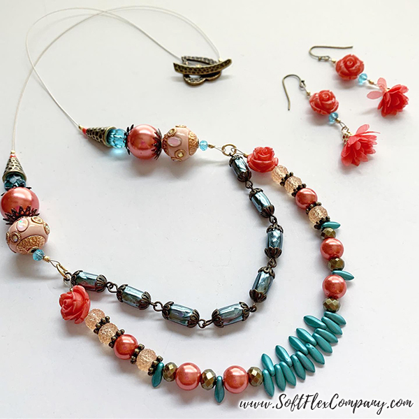 Shades Of Coral Necklace and Earrings by Kristen Fagan