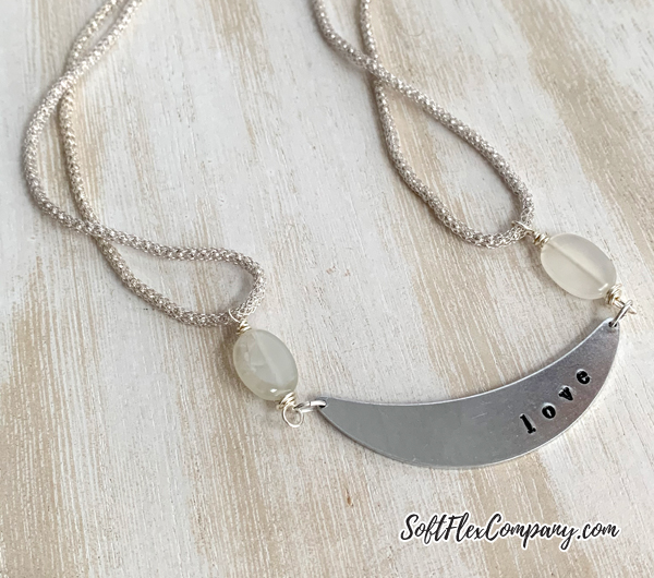 Metal Stamped Love Necklace with SilverSilk Capture Chain by Kristen Fagan