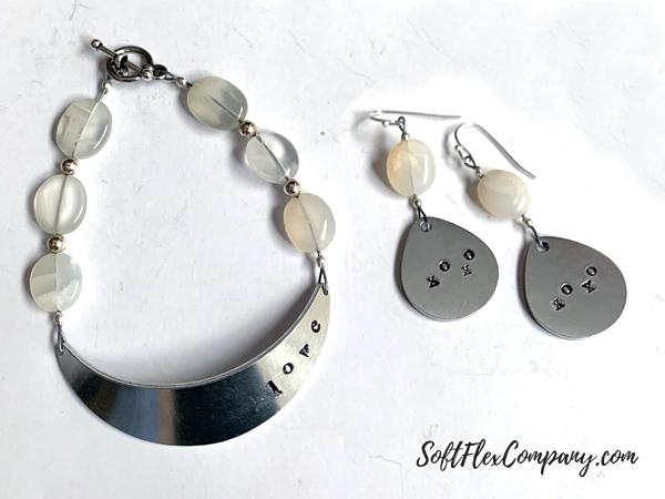 Metal Stamped Love Bracelet and Earrings by Kristen Fagan