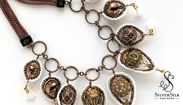French Beaded Components with SilverSilk Capture Chain and Soft Flex Craft Wire by Nealay Patel