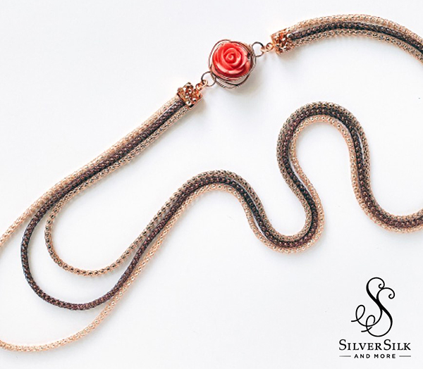 SilverSilk Triple Stack Rose Necklace by Nealay Patel