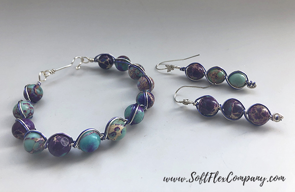 Wire Wrapped Bracelet and Earrings