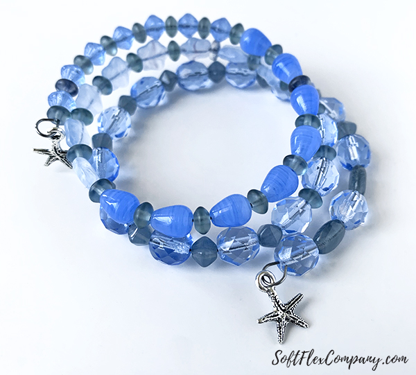 Blue Starfish Memory Wire Bracelet by Sara Oehler