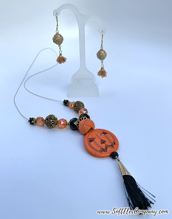 Golden Gate Fall Earrings and Jack O' Lantern Pumpkin Necklace by Sara Oehler