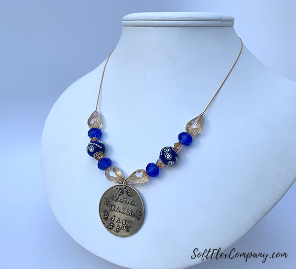 Metal Stamping Gratitude Necklace with Soft Flex Beading Wire by Sara Oehler
