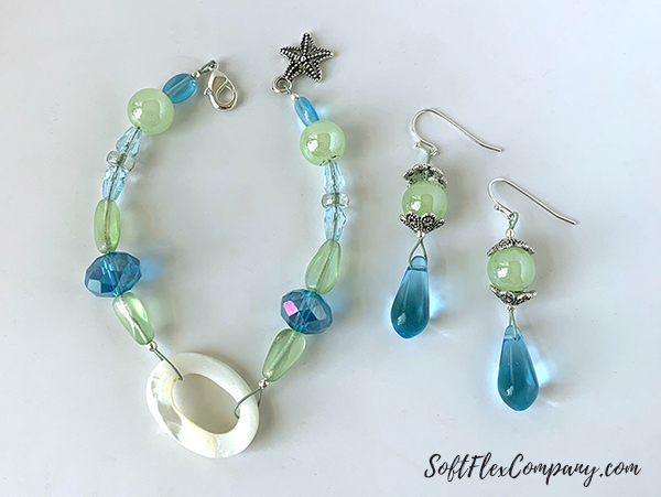 Serenity Shore Bracelet and Earrings by Sara Oehler