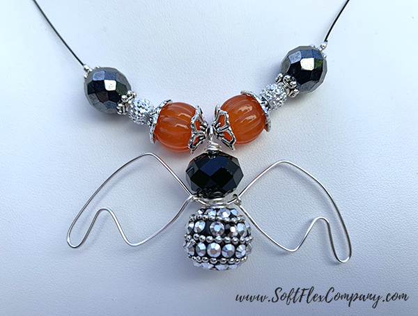 Soft Flex Craft Wire and Great Pumpkin Bat Necklace by Sara Oehler