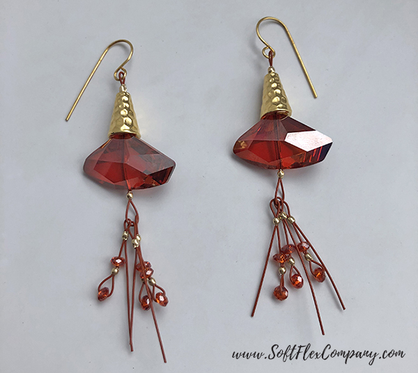 Soft Flex Beading Wire and Cone Earrings by Sara Oehler