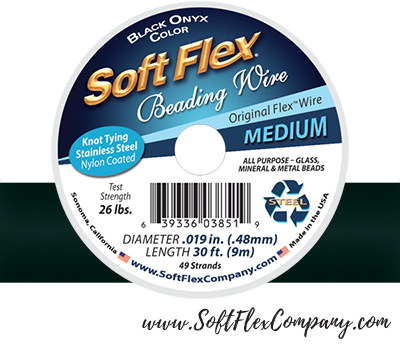 Soft Flex Beading Wire - Black Onyx Color