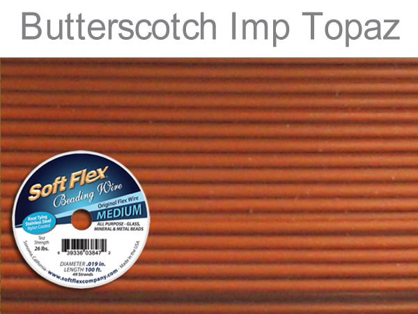 Soft Flex Beading Wire in Butterscotch Imperial Topaz Color