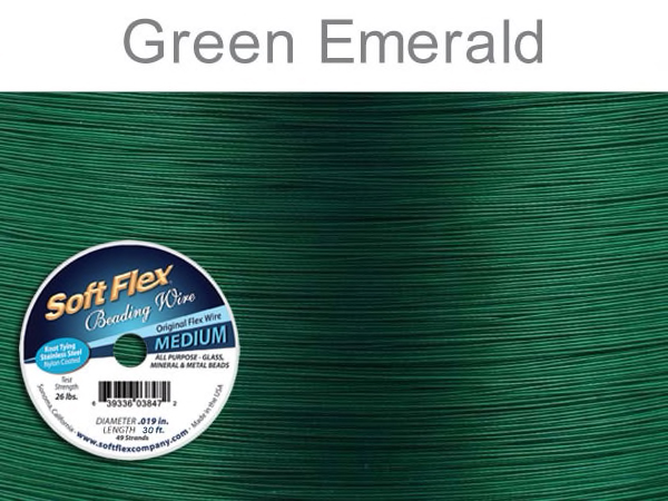 Soft Flex Beading Wire in Green Emerald Color
