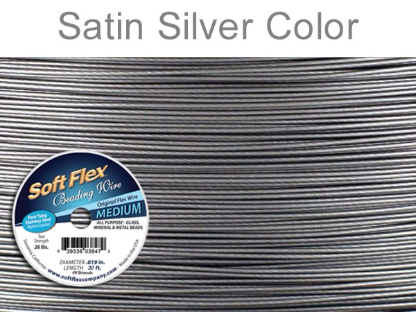 Soft Flex Beading Wire in Satin Silver Color