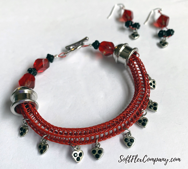 Soft Flex Wire Knitted Charm Bracelet and Earrings by Kristen Fagan