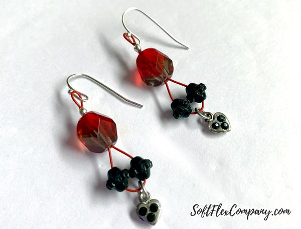 Soft Flex Wire Heart Charm Earrings by Kristen Fagan
