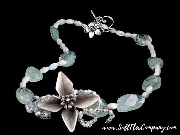 Aquamarine Flower Necklace by Virginia Magdaleno
