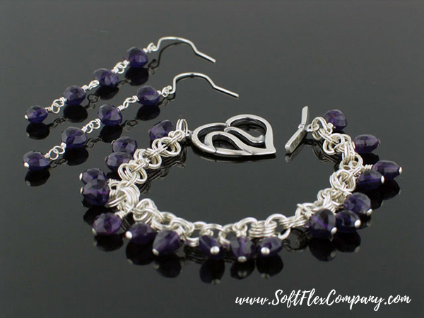 Amethyst Heart Bracelet and Earrings by Virginia Magdaleno