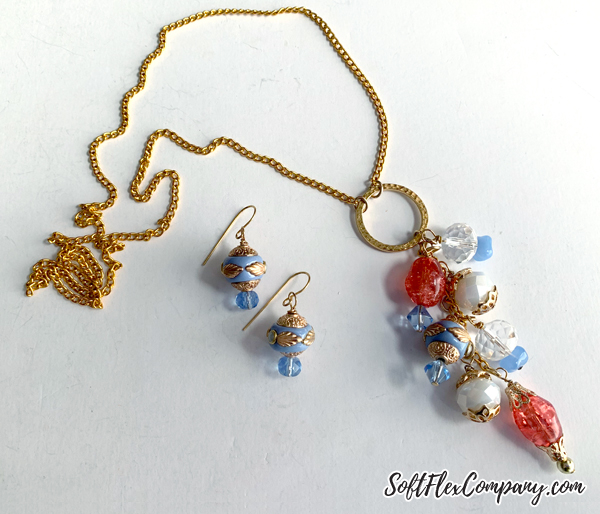 Long Cluster Y Necklace and Boho Bead Earrings by Kristen Fagan